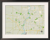 Political Map of Rockford, IL Prints