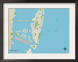 Political Map of Miami Beach, FL Art