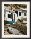 Village Houses Cut into the Cliffs, Cala D&#39;Alcaufar, Menorca Island, Balearic Islands, Spain Posters by Inaki Relanzon