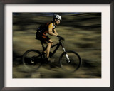Fast Moving Mountain Biker, Mt. Bike Print by Michael Brown