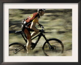 Close up of Fast Moving Mountain Biker, Mt. Bike Print by Michael Brown