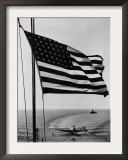 Airplane on Battleship Deck with American Flag in Foreground, World War II Poster