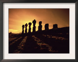 Easter Island Landscape with Giant Moai Stone Statues at Sunset, Oceania Print by George Chan