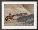 Cowboy Chasing Shadow Horses, Flitner Ranch, Shell, Wyoming, USA Posters by Carol Walker