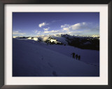 Climbers Follow Footsteps in the Snow, New Zealand Prints by Michael Brown
