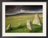 Merrivale Stone Row, Stormy Evening, Dartmoor Np, Devon, Uk. September 2008 Prints by Ross Hoddinott