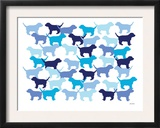 Blue Puppies Pattern Prints by  Avalisa