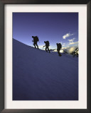 Climbers Silhouetted in Morning Sun, New Zealand Posters by Michael Brown