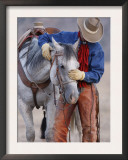 Cowboy Leading and Stroking His Horse, Flitner Ranch, Shell, Wyoming, USA Prints by Carol Walker