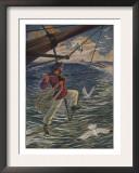 Illustration Of Canadian Brandishing Harpoon Poster by Milo Winter