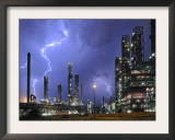 Lightning During Thunderstorm Above Petrochemical Industry in the Antwerp Harbour, Belgium Posters by Philippe Clement