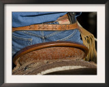 Detail of Back of Cowboy's Saddle, Jeans and Chaps, Sombrero Ranch, Craig, Colorado, USA Prints by Carol Walker