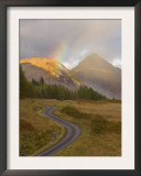 Mountain Road with Rainbow in Glen Etive, Argyll, Scotland, UK, October 2007 Posters by Niall Benvie
