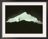 Potholer Silhouetted at Exit to Underground Cave System, Huesco, Spain Prints by Inaki Relanzon