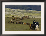 Icelandic Horses and Riders, Riding Near Landmannalaugar, Iceland Posters by Inaki Relanzon