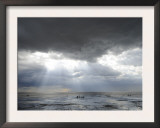 The Wash, Norfolk, Beach Landscape with Storm Clouds and Bait Diggers, UK Prints by Gary Smith