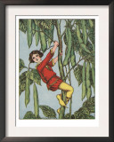Illustration From Jack And The Beanstalk Of Jack Climbing The Stalk Print by Elizabeth Colborne