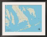 Political Map of Big Pine Key, FL Art