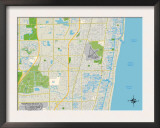 Political Map of Pompano Beach, FL Posters