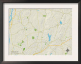 Political Map of Ellington, CT Posters