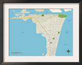 Political Map of Cape Canaveral, FL Prints