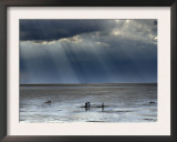 The Wash, Norfolk, Beach Landscape with Storm Clouds and Bait Diggers, UK Posters by Gary Smith