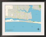 Political Map of Fort Walton Beach, FL Prints
