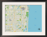 Political Map of Hollywood, FL Prints