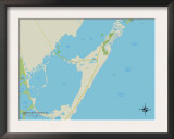 Political Map of North Key Largo, FL Prints