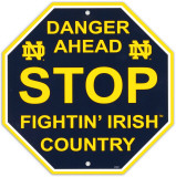 University of Notre Dame Stop Sign Wall Sign