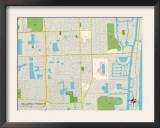 Political Map of Hallandale Beach, FL Prints