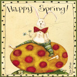 Spring Bunny Sitting on Eggs Poster by Dan Dipaolo