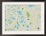 Political Map of Winter Park, FL Prints