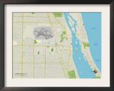 Political Map of Vero Beach, FL Prints