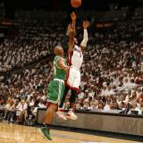 Boston Celtics v Miami Heat - Game One, Miami, FL - MAY 1: Dwyane Wade and Ray Allen Photographic Print by Issac Baldizon