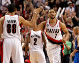 Dallas Mavericks v Portland Trail Blazers - Game Four, Portland, OR - APRIL 23: Brandon Roy and Nic Photo by Jonathan Ferrey
