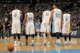 Oklahoma City Thunder v Denver Nuggets - Game Three, Denver, CO - APRIL 23: J.R. Smith, Raymond Fel Photographic Print by Doug Pensinger