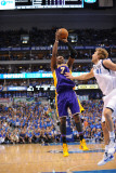 Los Angeles Lakers v Dallas Mavericks - Game Four, Dallas, TX - MAY 8: Lamar Odom and Dirk Nowitzki Photographic Print by Noah Graham
