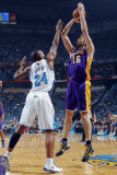 Los Angeles Lakers v New Orleans Hornets - Game Six, New Orleans, LA - APRIL 28: Pau Gasol and Carl Photographic Print by Layne Murdoch