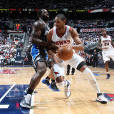 Orlando Magic v Atlanta Hawks - Game Six, Atlanta, GA - APRIL 28: Al Horford and Brandon Bass Photographic Print by Scott Cunningham