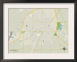 Political Map of Galesburg, IL Prints