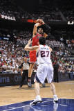 Chicago Bulls v Atlanta Hawks - Game Four, Atlanta, GA - MAY 8: Carlos Boozer and Zaza Pachulia Photographic Print by David Dow