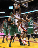 Boston Celtics v Miami Heat - Game Two, Miami, FL - MAY 03: LeBron James, Paul Pierce and Delonte W Photographic Print by Mike Ehrmann