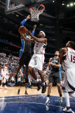 Orlando Magic v Atlanta Hawks - Game Six, Atlanta, GA - APRIL 28: Joe Johnson and Dwight Howard Photographic Print by Scott Cunningham
