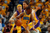 Los Angeles Lakers v New Orleans Hornets - Game Three, New Orleans, LA - APRIL 22: Chris Paul and P Photographic Print by Chris Graythen