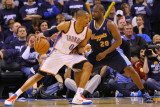 Denver Nuggets v Oklahoma City Thunder - Game Five, Oklahoma City, OK - APRIL 27: Raymond Felton an Photographic Print by Dilip Vishwanat