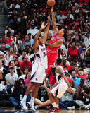 Chicago Bulls v Atlanta Hawks - Game Four,  ATLANTA - MAY 8: Derrick Rose and Jason Collins Photographic Print by Scott Cunningham