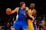 Dallas Mavericks v Los Angeles Lakers - Game Two, Los Angeles, CA - MAY 04: Dirk Nowitzki and Lamar Photographic Print by Kevork Djansezian