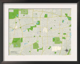 Political Map of Wheaton, IL Prints