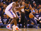 Denver Nuggets v Oklahoma City Thunder - Game Five, Oklahoma City, OK - APRIL 27: Nene Hilario and  Photographic Print by Dilip Vishwanat